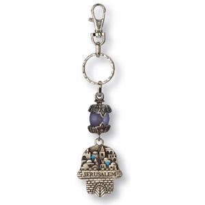 Schlüsselanhänger  Chamsa mit Jerusalem-Motiv