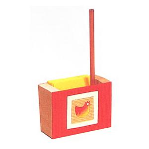 Wellpappe-Zettelkasten rot-gelb