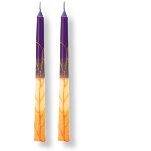Kerzenpaar gelb-orange-lila, aus Safed