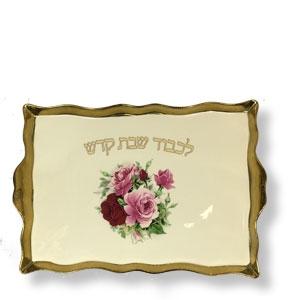 Schabbat Platte Blumen-Motiv, Porzellan mit Goldrand