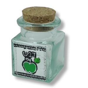 Mini Glasfläschchen für Honig, mit grünem Apfel, für Rosch Haschana