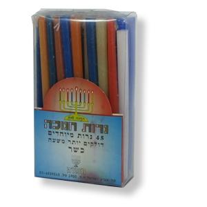 Chanukka-Kerzen, bunt, 12,5 cm hoch