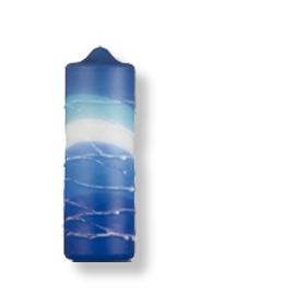 Große Stumpenkerze aus Safed - blau - weiss