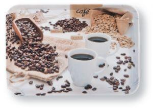 Kleineres Frühstückstablett - mit Kaffeebohnen-Motiv