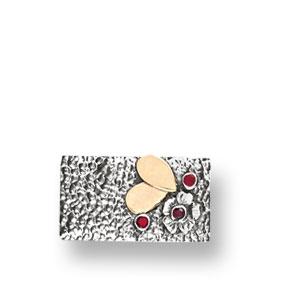 Rechteckige Silberbrosche