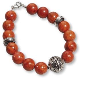 Armband aus tiefroten Schaumkorallen-Perlen