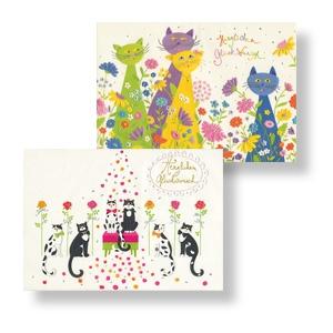 Doppelkarte mit Katzenmotiv - Set aus 2 Karten