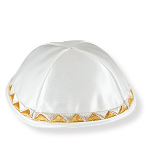 Weiße Satin-Kippa