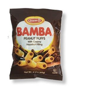 Bamba-Erdnussflips mit Haselnuss-Cremefüllung