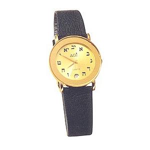 Armbanduhr, gold-plated, mit hebräischem Ziffernblatt