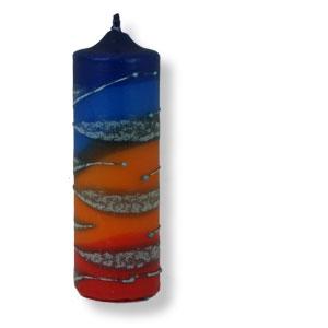 Große Stumpenkerze aus Safed - blau - orange - rot