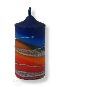 Kleine Stumpenkerze aus Safed - blau - orange - rot