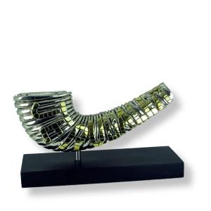 Schofar, 3-D-Abbildung, Silber, vergoldet mit
