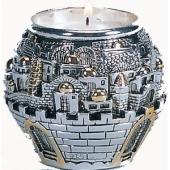 Kerzenhalter - Jerusalem in Silber und Gold