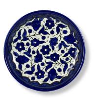 Flaches, blauweißes Schälchen, ca. 12,5 cm