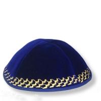 Kippa aus blauem Samt, Goldstickerei