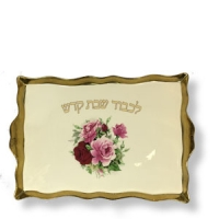 Schabbat Platte, Blumen, Porz, Goldrand