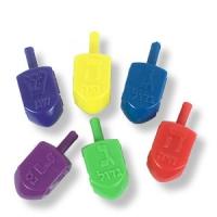 Bunte Kunststoff-Dreidel - 6-er-Pack