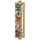 Holz-Mesusa mit Symbolschmuck und Fisch-Motiv