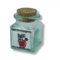 Mini Glasfläschchen für Honig, mit roteem Apfel, für Rosch Haschana