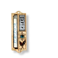 Traditionell geformte Holz-Mesusa mit Davidstern-Motiv