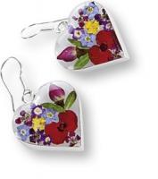 Blütenschmuck-Ohrhänger in Herzform