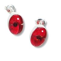 Ovale Ohrstecker mit kräftig roter Sommerblüte