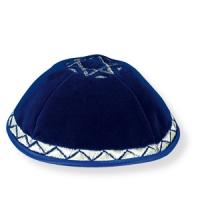 Blaue Samt-Kippa
