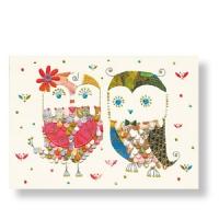 Geburtstagskarte mit Eulenpaar