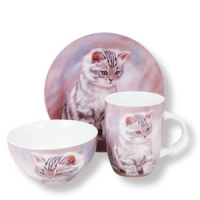 3er Porzellan-Set - Kätzchenmotiv