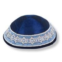 Kippa aus blauer Wildseide, mit Davidstern-Motiv