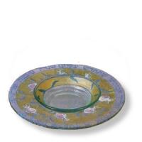 Glasplatte für Rosch Haschana mit separater Honig-Schale